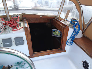 View from the helm of Garmin 740s chart plotter mounted in Whispering Jesse's companionway