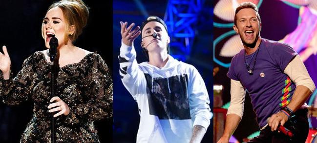 Adele, Coldplay y Justin Bieber se presentarán en los BRIT Awards 2016.