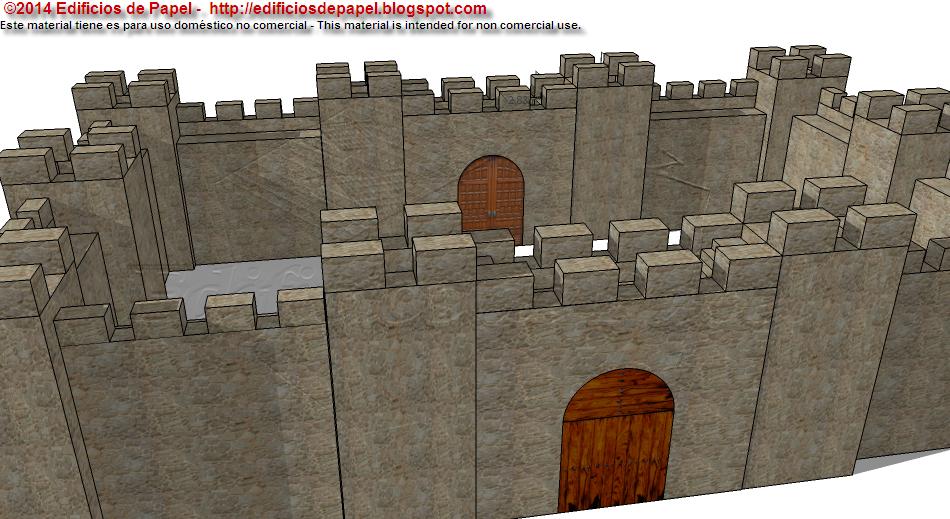 Maqueta de Papel de Muralla Medieval de Edificios de Papel-2014