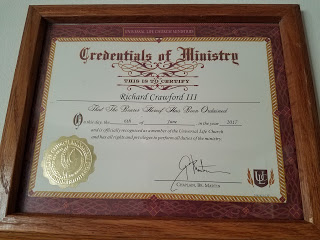 Ordained Minister from University Life Church (ULC