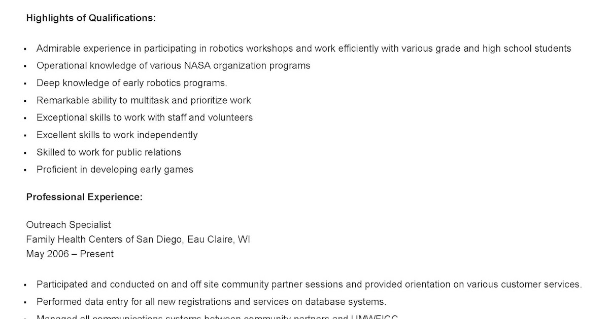 resume samples  sample outreach specialist resume