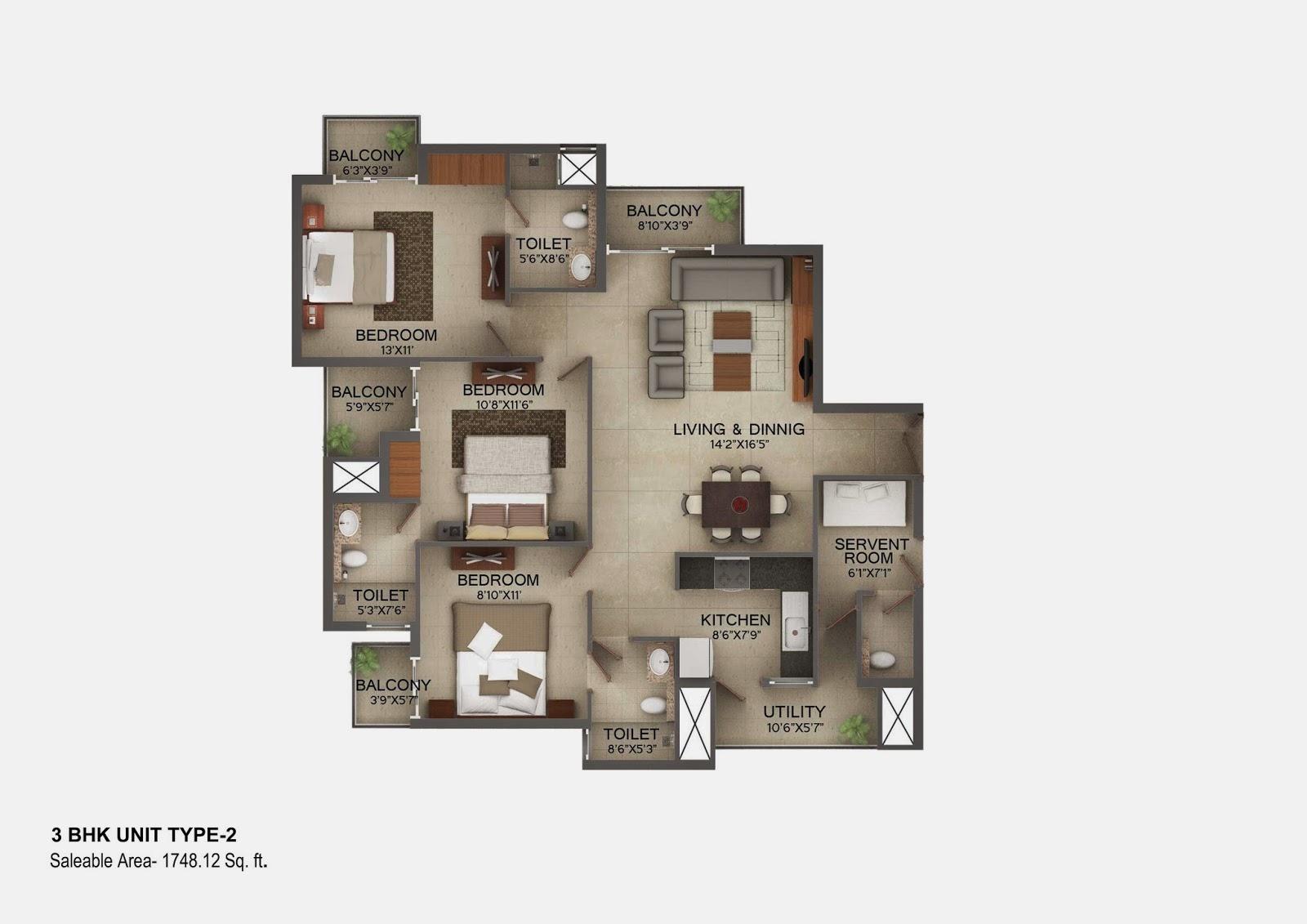 Vasilia Floor Plan 3 bhk