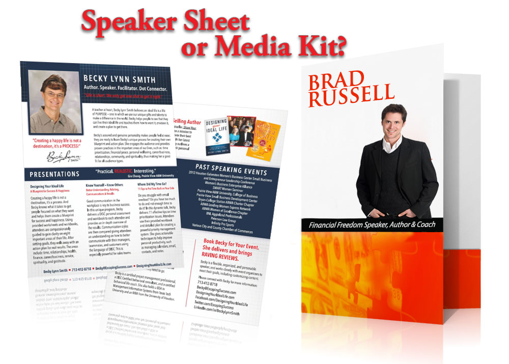 speaker sheet, media kit, press kit, speaker one sheet, public speaking bio, speaker bio, speaker kit