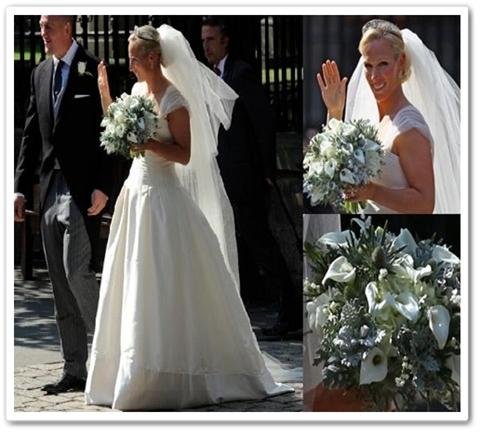 kungligt bröllop, zara phillips bröllop, zara phillips brudbukett