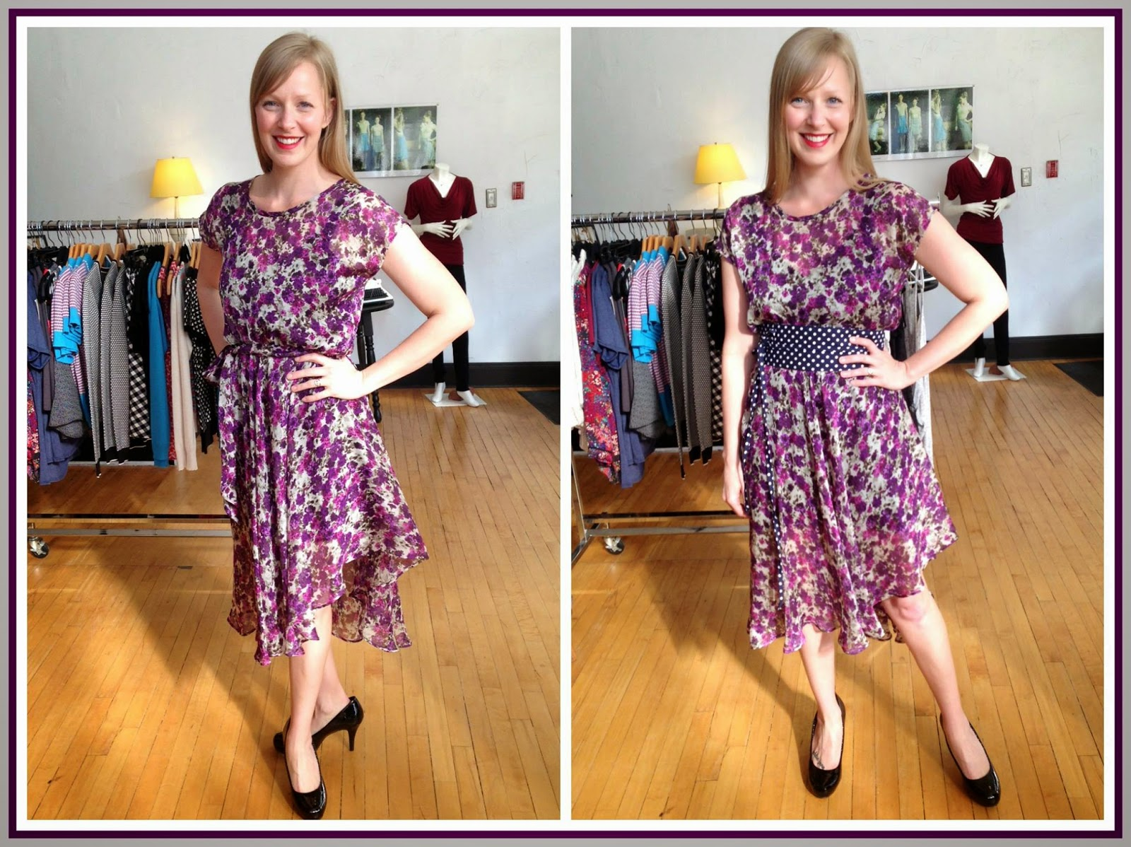 Nora by Sarah Bibb ($190) in purple floral, Ava slip ($65-$72) by Sarah Bibb, Obi belt ($40) by Sarah Bibb at Folly