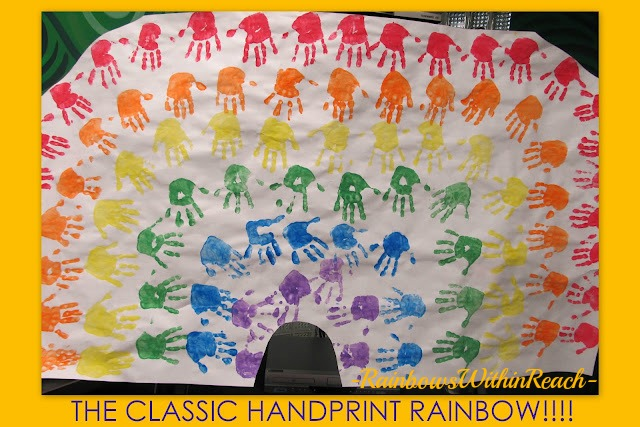 photo of: Classic Rainbow from Painted Hand Prints as Bulletin Board Cover