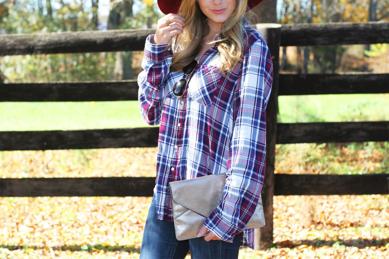 mid-shot-of-classic-plaid-flannel-button-up-and-floppy-hat