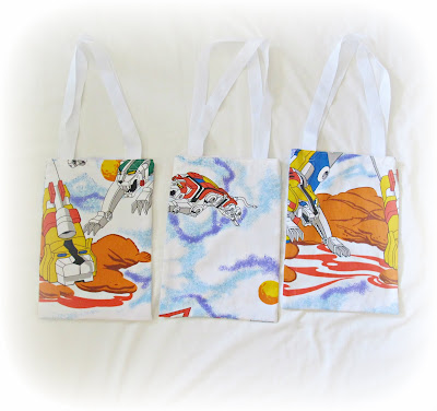 image voltron tote bag bed sheet linen upcycled