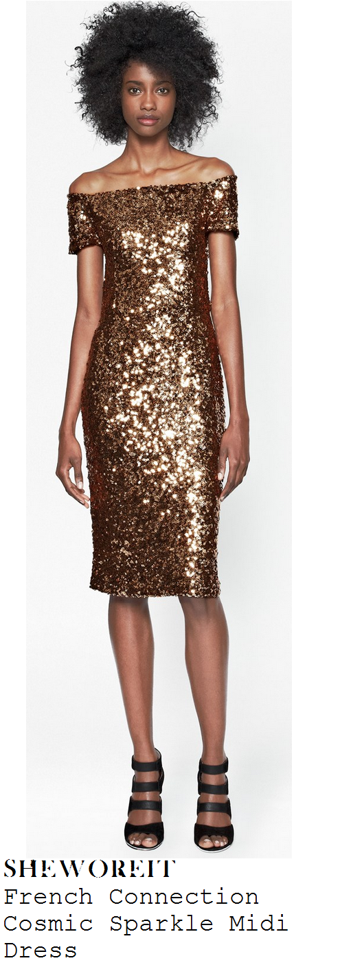rochelle-humes-metallic-gold-sequin-embellished-off-shoulder-midi-dress-children-in-need