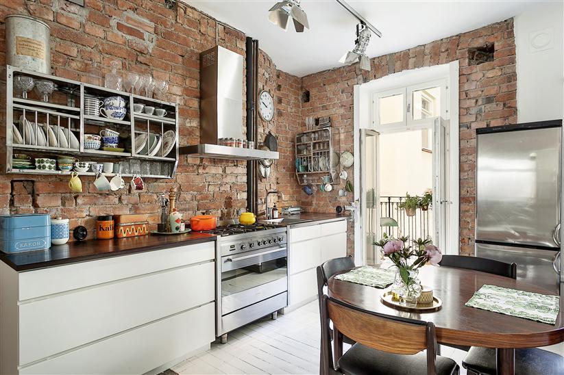 W domu Marty Kuchnia w cegle -> Kuchnia Tapeta Cegla