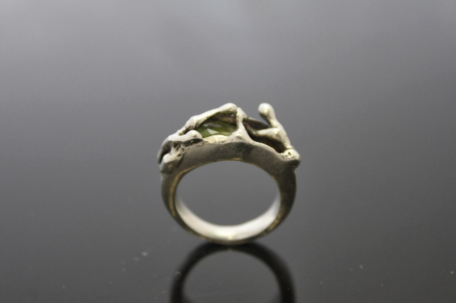 ring sterling silver peridot art organic beautiful sleek
