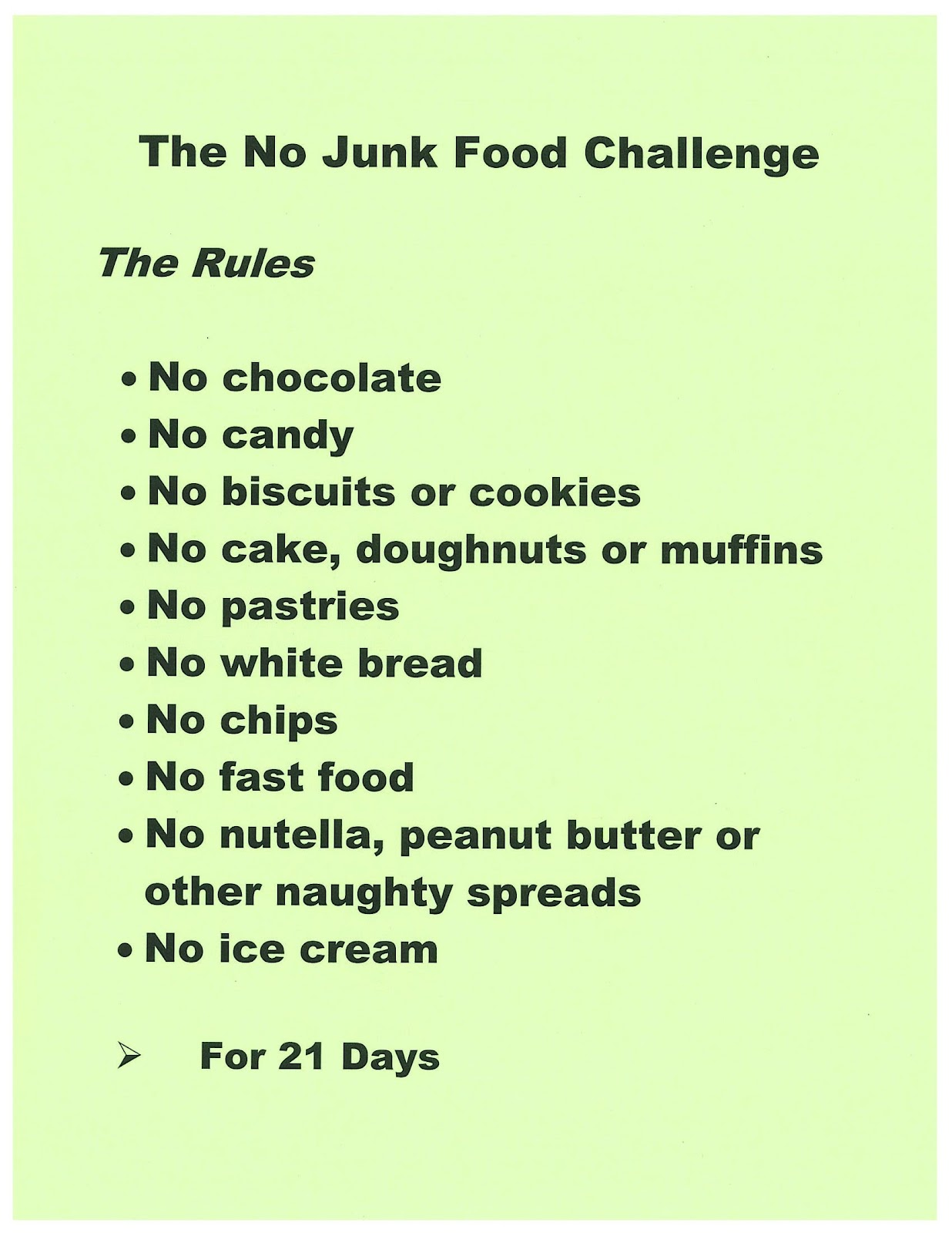 What s happening in my playground the no junk food challenge