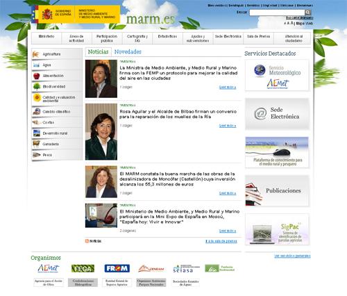 El MARM actualiza su página www.marm.es