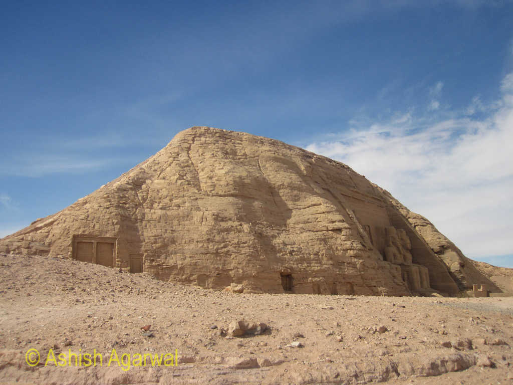 The small hill that is the structure on which the Abu Simbel temple is built