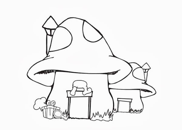 Smurfs Mushroom House Coloring Pages