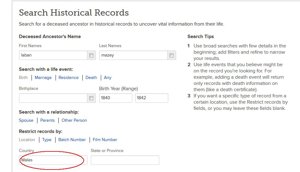 FamilySearch,org search page for Laban Mazey