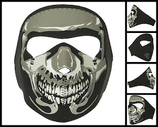 Youth Glow Chrome Skull Neoprene Face Mask