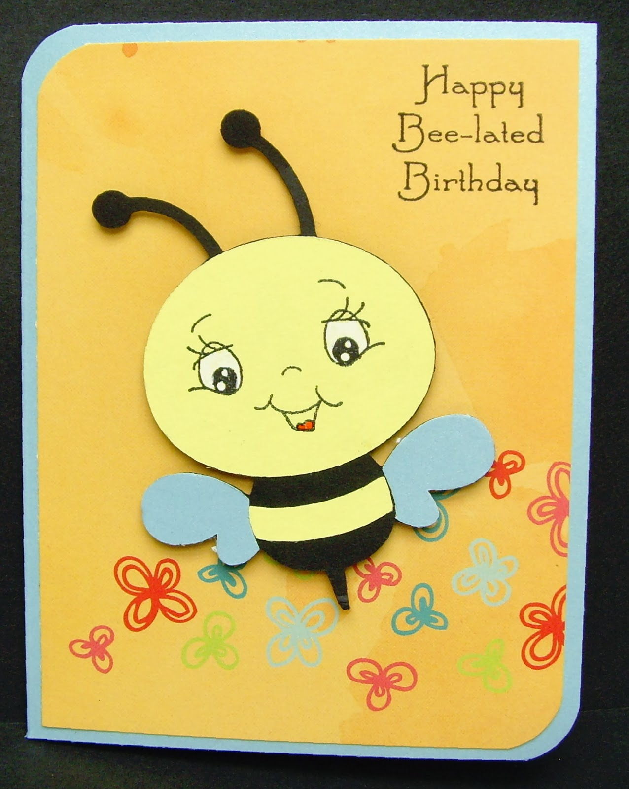 Scrapping runner creations bee lated birthday card i love all the images on the create a critter cartridge especially this little bee i hid the face cuts on my gypsy so i could use a cute peachy keen face bookmarktalkfo Choice Image
