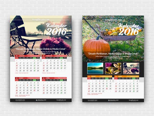 Download Template Desain Kalender 2016 Masehi dan Hijriah