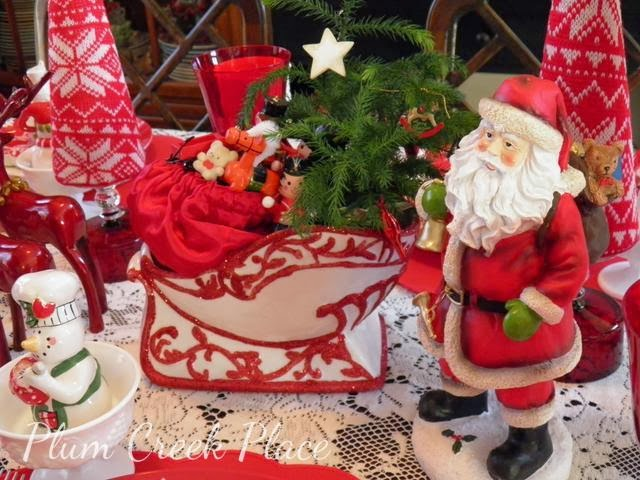 Christmas decor, Santa, Reindeer, Christmas tablescape