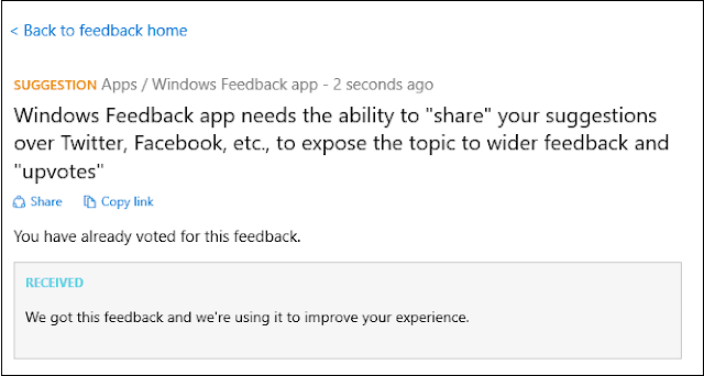 PC Feedback in Windows 10