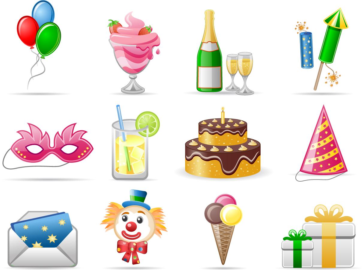 誕生日グッズのクリップアート birthday theme icon vector イラスト素材3