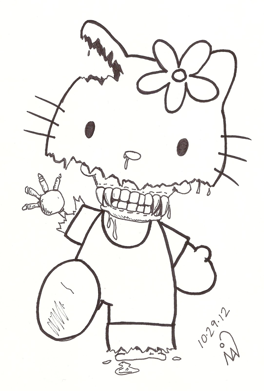Free Zombie Hello Kitty Coloring Pages