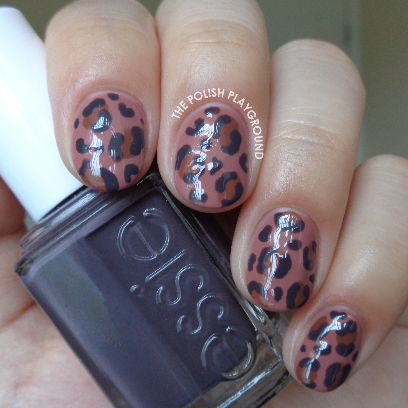 Brown and Purple Leopard Print Nail Art