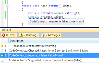 Code Contract Failure in Visual Studio