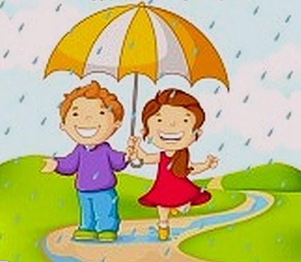 Niños bajo la lluvia en la época infantil.