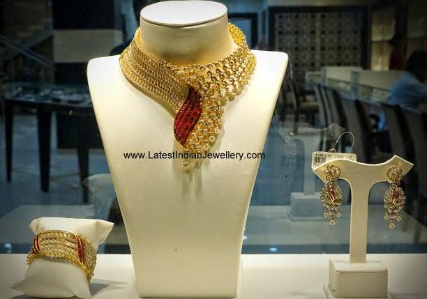 Diamond Bridal Necklace Bangle Set