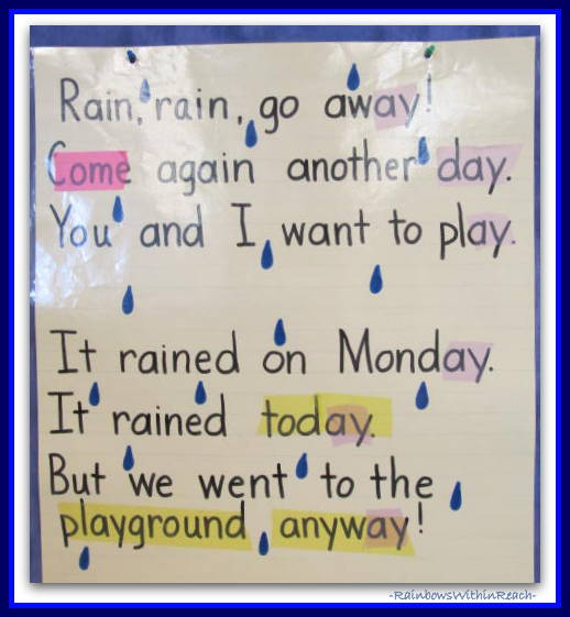 Anchor Chart for Rain Poem in Kindergarten