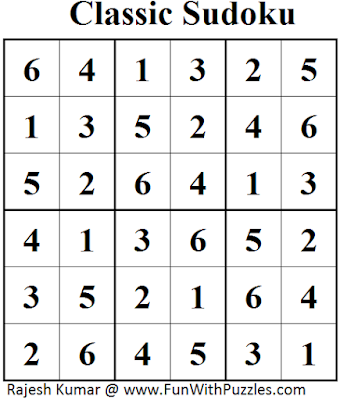 Classic Sudoku (Mini Sudoku Series #49) Solution