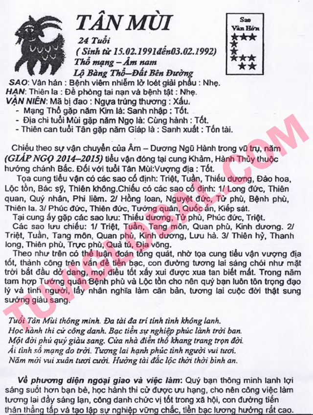 TỬ VI TUỔI TÂN MÙI 1991 NĂM 2014 GIÁP NGỌ - Blog Trần Tứ ...