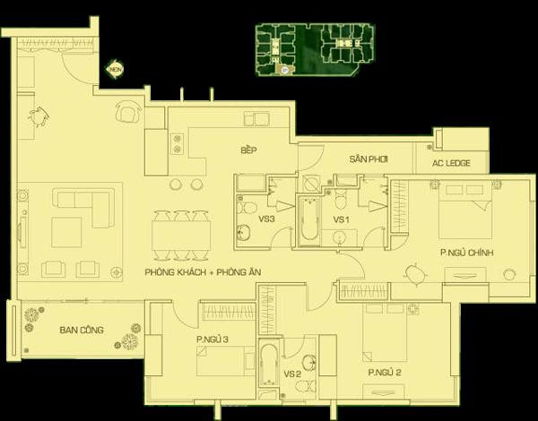căn hộ 160 m2 R2, căn 1