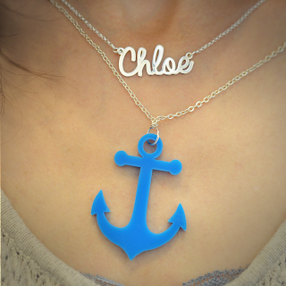 Acrylic Anchor Necklace with Name Necklace
