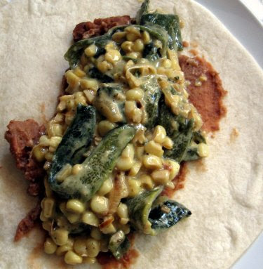 burrito with rajas poblanas
