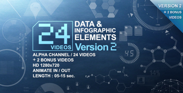 VideoHive 24 Videos Data & Infographic Elements V.2