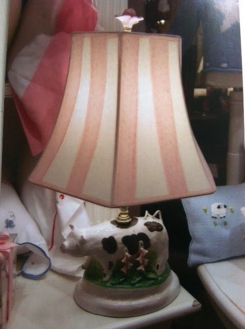 Dana Gibsonu0027s Moses Spring Ceramic Lamp Of Spotted Cow With Hand Painted  Pink Stripe Shade