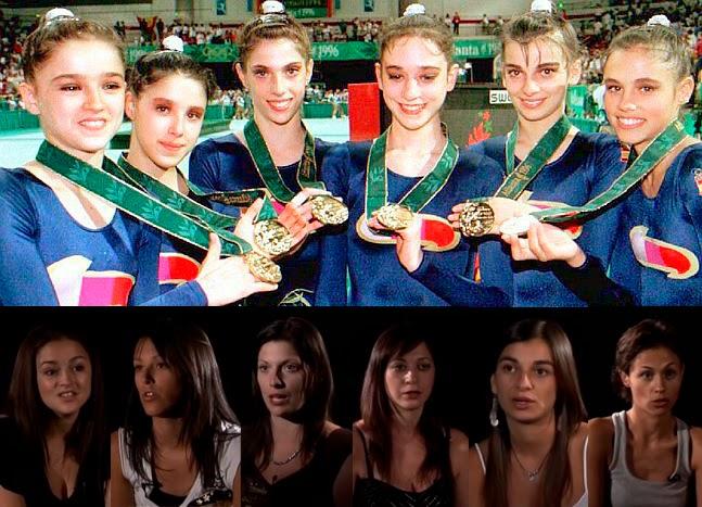 Nuria Cabanillas, Tania Lamarca, Lorena Guréndez, Estíbaliz Martínez, Marta Baldó, Estela Giménez, oro en gimnasia rítmica en Atlanta 96