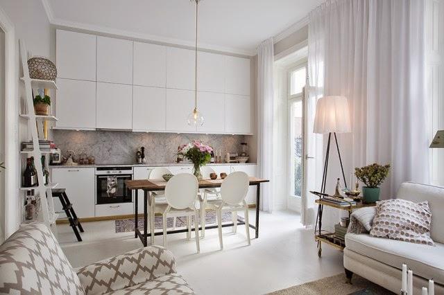Femenino y elegante mini apartamento de 42 m decoraci n - Decoracion de salones estilo romantico ...