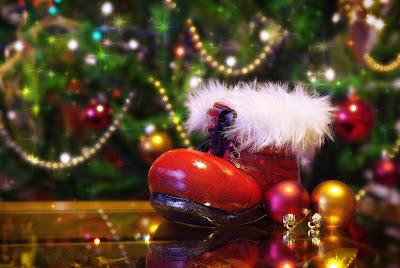 Imagenes navideñas con bota de santa claus y arbolito de Navidad