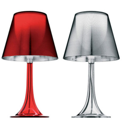 Flos Miss K Table Lamps in Red and Transparent Finish, designer collection