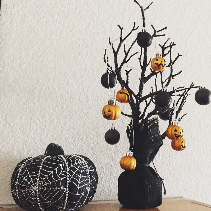 this halloween tree and ornaments cost me a whole 6 at target the tree is in the dollar spot and i found the mini ornaments on one of the shelves in - Target Halloween Tree
