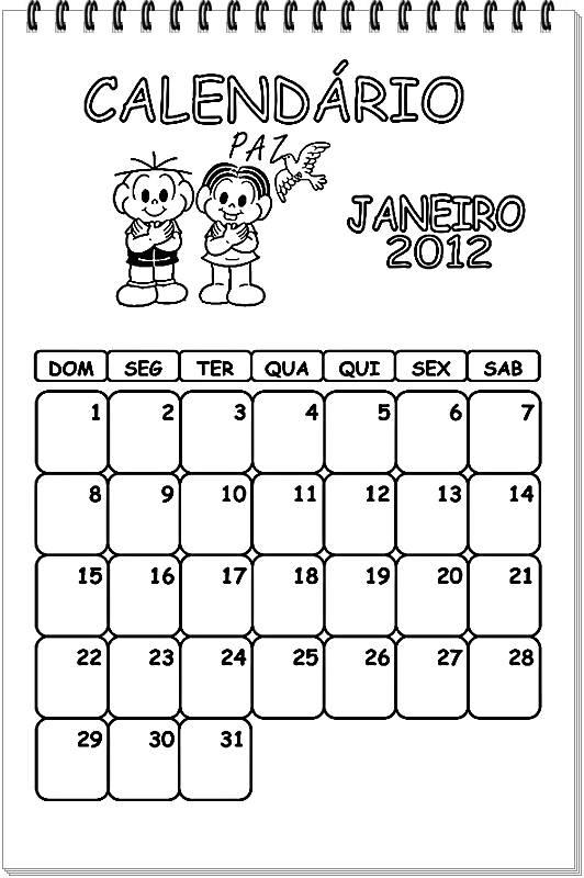 Calend  Rios 2012 Para Colorir
