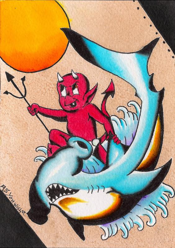 Hot stuff riding a hammerhead shark Kinda explains itself title=