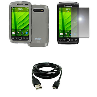 for BlackBerry Torch 9860 9850 Smoke Case Cover+Mirror Screen Protect+USB Cable