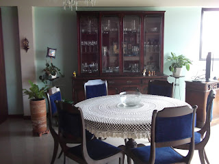 Living room and table of furnished apartment in Bogota