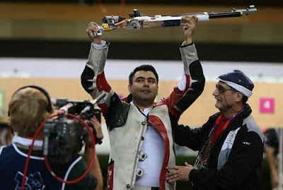 Gagan Narang celebrates after winning Bronze medal at London Olympics 2012