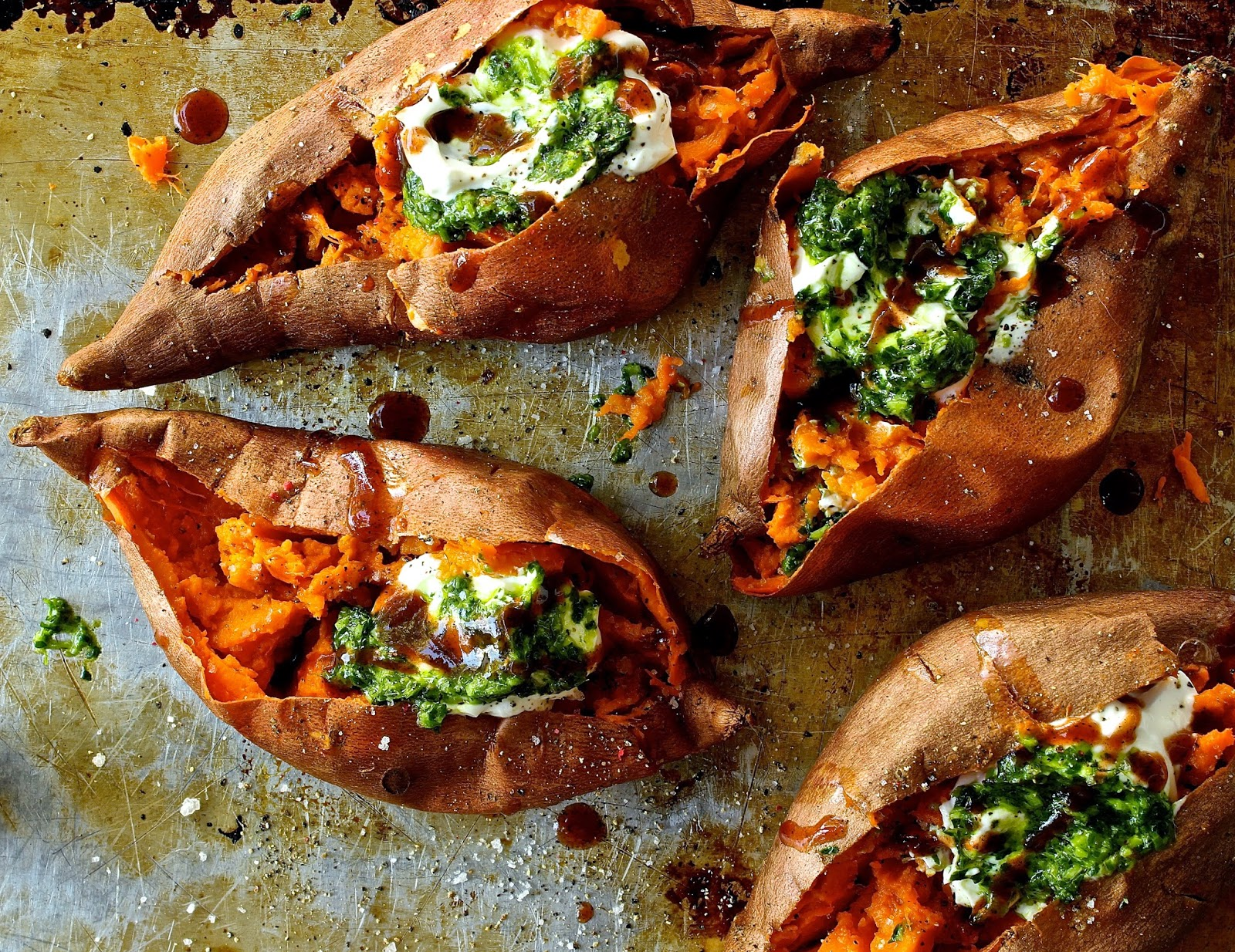 Baked sweet potatoes with salsa verde and chipotle ...